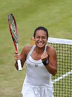 LONDRES, INGLATERRA, 27 JUNHO 2012 - TORNEIO DE WIMBLEDON - A tenista Heather Watson  vibra durante torneio de Wimbledon, em Londres, Inglaterra, nesta quarta-feira, 27. (FOTO: PIXATHLON / BRAZIL PHOTO PRESS).