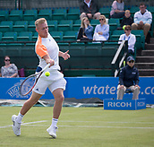 June 11th 2017, Nottingham, England; ATP Aegon Nottingham Open Tennis Tournament day 2;  Finn Bass of Great Britain plays a forehand