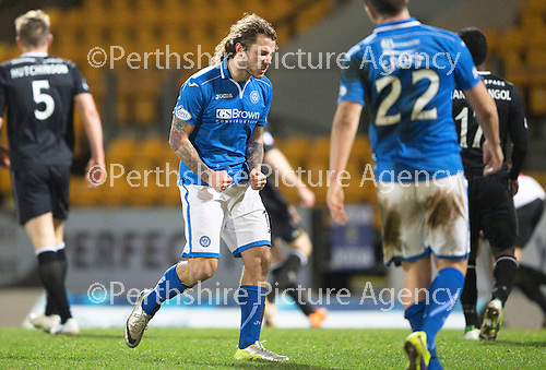 St Johnstone v Motherwell....25.02.14    SPFL<br /> Stevie May shows his frustration after missing a goal scoring opportunity<br /> Picture by Graeme Hart.<br /> Copyright Perthshire Picture Agency<br /> Tel: 01738 623350  Mobile: 07990 594431