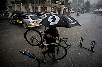 Just as the race finishes, a serious thunderstorm (including hail), hits the area and the Mitchelton-Scott crew (already working in their hotel very nearby) simply keep on going & even make the best of the gnarly situation<br /> <br /> Stage 18: Embrun to Valloire(208km)<br /> 106th Tour de France 2019 (2.UWT)<br /> <br /> ©kramon