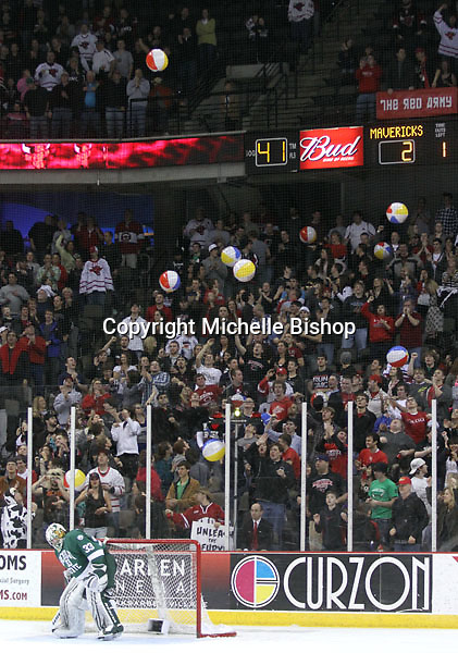 The University of Nebraska Omaha student section fills with beach balls after UNO tied the game at 2-2 during the third period. Bemidji State beat UNO 4-2 Friday night during the first round of the WCHA playoffs at Qwest Center Omaha. (Photo by Michelle Bishop)