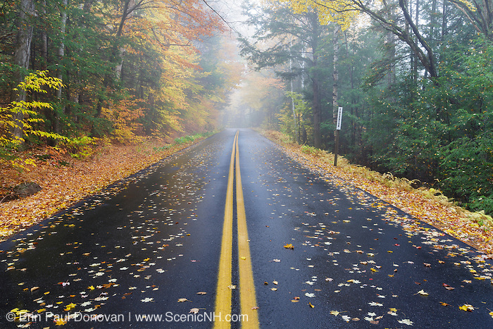 Tripoli Road in Woodstock, New Hampshire USA on a foggy and rainy autumn morning.