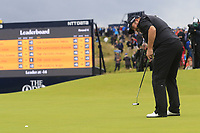 Shane Lowry (IRL) sinks his birdie putt on the 15th green during Sunday's Final Round of the 148th Open Championship, Royal Portrush Golf Club, Portrush, County Antrim, Northern Ireland. 21/07/2019.<br /> Picture Eoin Clarke / Golffile.ie<br /> <br /> All photo usage must carry mandatory copyright credit (© Golffile | Eoin Clarke)