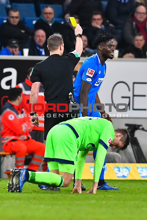 01.12.2018, wirsol Rhein-Neckar-Arena, Sinsheim, GER, 1 FBL, TSG 1899 Hoffenheim vs FC Schalke 04, <br /> <br /> DFL REGULATIONS PROHIBIT ANY USE OF PHOTOGRAPHS AS IMAGE SEQUENCES AND/OR QUASI-VIDEO.<br /> <br /> im Bild: Gelbe Karte fuer Kasim Adams (TSG Hoffenheim #15)<br /> <br /> Foto © nordphoto / Fabisch
