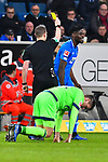 01.12.2018, wirsol Rhein-Neckar-Arena, Sinsheim, GER, 1 FBL, TSG 1899 Hoffenheim vs FC Schalke 04, <br /> <br /> DFL REGULATIONS PROHIBIT ANY USE OF PHOTOGRAPHS AS IMAGE SEQUENCES AND/OR QUASI-VIDEO.<br /> <br /> im Bild: Gelbe Karte fuer Kasim Adams (TSG Hoffenheim #15)<br /> <br /> Foto &copy; nordphoto / Fabisch