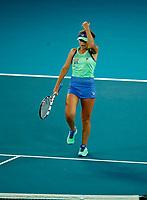1st February 2020; Melbourne Park, Melbourne, Victoria, Australia; Australian Open Tennis, Day 13, ladies singles final; Sofia Kenin of USA returns during her match against Garbine Muguruza of Spain