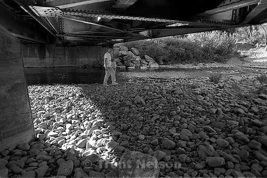 Ted Hansen under the train bridge.<br />