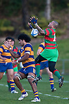 Kelepi Aholelei vails to take the high ball during the Counties Manukau Premier Club Rugby final between Patumahoe & Waiuku played at Bayers Growers Stadium Pukekohe on Saturday August 8th 2009. Patumahoe won 11 - 9 after leading 11 - 6 at halftime.
