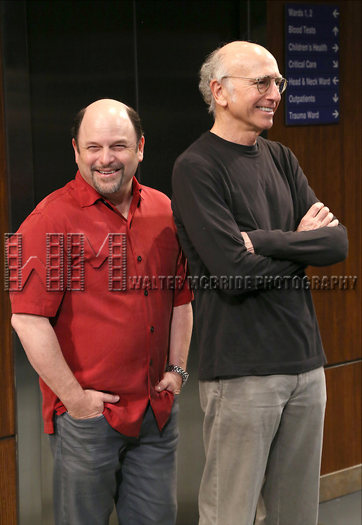 Jason Alexander and Larry David attends the 'Fish in the Dark' cast change photo call at  the Cort Theatre on May 28, 2015 in New York City.