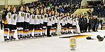 09.01.2020, BLZ Arena, Füssen / Fuessen, GER, IIHF Ice Hockey U18 Women's World Championship DIV I Group A, <br /> Siegerehrung, <br /> im Bild Team Deutschland singt lautstart die Nationalhymne als Turniersieger<br /> <br /> Foto © nordphoto / Hafner