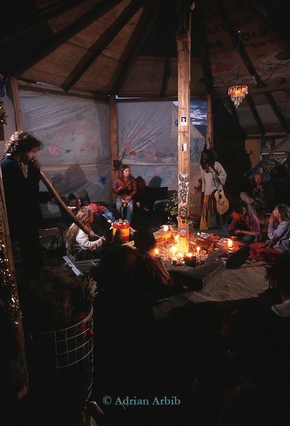 Nightime in the communal roundhouse. Pure Genius housing  protest, Wandsworth Eco village. The Guiness Site. Wandsworth .