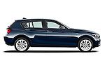 Passenger side profile view of a 2011 - 2014 BMW 118d 5 Door hatchback.