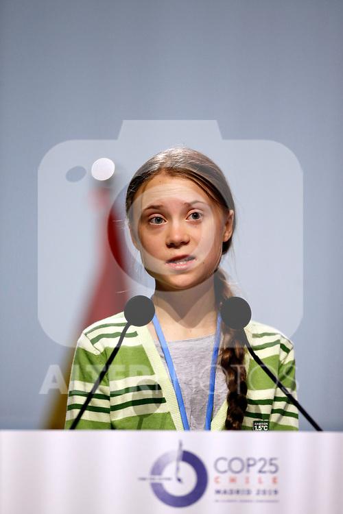 Greta Thunberg during the nineth day oif COP25 Chile-Madrid at IFEMA Madrid on 11 Dec 2019.(ALTERPHOTOS/Manu R.B.)