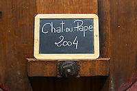 tank door sign on tank chateauneuf 2004 domaine p usseglio chateauneuf du pape rhone france