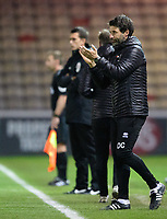 Lincoln City manager Danny Cowley shouts instructions to his team from the technical area<br /> <br /> Photographer Chris Vaughan/CameraSport<br /> <br /> The EFL Checkatrade Trophy Northern Group H - Lincoln City v Wolverhampton Wanderers U21 - Tuesday 6th November 2018 - Sincil Bank - Lincoln<br />  <br /> World Copyright © 2018 CameraSport. All rights reserved. 43 Linden Ave. Countesthorpe. Leicester. England. LE8 5PG - Tel: +44 (0) 116 277 4147 - admin@camerasport.com - www.camerasport.com