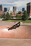 Skateboarder at the Denver Skatepark, near downtown Denver, Colorado,