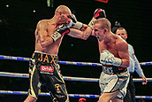 30th September 2017, Echo Arena, Liverpool, England; Matchroom Boxing, Eliminator for WBA Bantamweight World Championship;  Paul Butler versus Stuart Hall; Paul Butler plants a right hook on Stuart Hall's chin