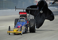 Feb. 11, 2012; Pomona, CA, USA; NHRA top alcohol dragster driver Joey Severance during the Winternationals at Auto Club Raceway at Pomona.  Mandatory Credit: Mark J. Rebilas-