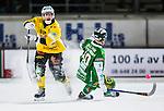 Stockholm 2013-12-30 Bandy Elitserien Hammarby IF - Broberg S&ouml;derhamn IF :  <br /> Brobergs Joel Edling i kamp om bollen med Hammarbys Adam Gilljam <br /> (Foto: Kenta J&ouml;nsson) Nyckelord: