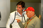 Toto Wolff [AUT] Mercedes GP - Niki Lauda (AUT) 3x F1 World Champion, Mercedes-Benz non-executive chairman of the board of directors<br /> for the complete Middle East, Austria &amp; Germany Media usage only!<br />  Foto &copy; nph / Mathis