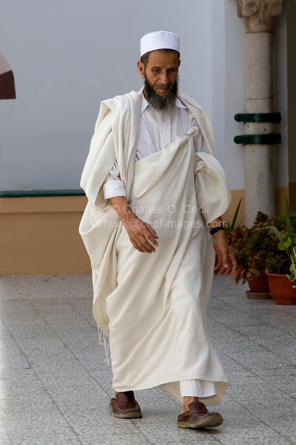 Tripoli, Libya - Libyan Man Wearing Traditional Holi (Cloak) and Tagiyah (Hat)