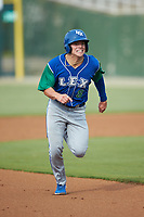 Nathan Eaton (8) of the Lexington Legends hustles towards third base against the Kannapolis Intimidators at Kannapolis Intimidators Stadium on August 4, 2019 in Kannapolis, North Carolina. The Legends defeated the Intimidators 5-1. (Brian Westerholt/Four Seam Images)