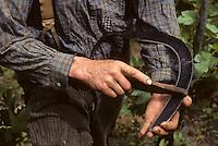 Europe/France/Auvergne/12/Aveyron/Env. de Rodez/Le Monastère: agriculteur aiguisant une faucille (détail)<br /> PHOTO D'ARCHIVES // ARCHIVAL IMAGES<br /> FRANCE 1980