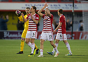 2nd February 2019, Hope CBD Stadium, Hamilton, Scotland; Ladbrokes Premiership football, Hamilton Academical versus Dundee; Gary Woods, Matthew Kilgallon and Alex Gogic of Hamilton Academical applaud the fans at the end of the match