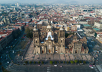 Cathedral. Drone photos of the Day of the Dead instalation in the Zocalo 2017, Mexico City, Mexico