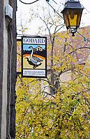 Sign advertising Godard Foie Gras, Duck or Goose fat liver. Tree and lantern in background. Bergerac Dordogne France