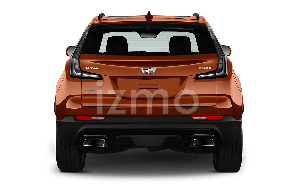 Straight rear view of 2019 Cadillac XT4 Sport 5 Door SUV Rear View  stock images