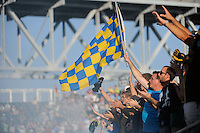 Philadelphia Union fans. The Philadelphia Union defeated CD Chivas USA 3-0 during a Major League Soccer (MLS) match at PPL Park in Chester, PA, on September 25, 2010.