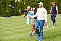 Jhonattan Vegas (VEN) departs the 4th tee during round 3 Four-Ball of the 2017 President's Cup, Liberty National Golf Club, Jersey City, New Jersey, USA. 9/30/2017.<br /> Picture: Golffile | Ken Murray<br /> <br /> All photo usage must carry mandatory copyright credit (&copy; Golffile | Ken Murray)