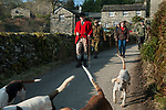 The Mayor of Troutbeck Hunt Day, Michael Nicholson, Huntsman and Master of the Coniston foxhounds and the newly elected Mayor of Troutbeck, Mrs Nicola Maloney set out for a days hunting. Troutbeck Cumbria England.