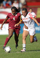 COLLEGE PARK, MD - OCTOBER 21, 2012:  Erika Nelson (15) of the University of Marylandgoes for the ball with Jamia Fields (4) of Florida State during an ACC women's match at Ludwig Field in College Park, MD. on October 21. Florida won 1-0.