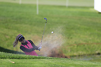 Natalie Gulbis (USA) chips from a bunker at the 5th green during Thursday's Round 1 of The Evian Championship 2018, held at the Evian Resort Golf Club, Evian-les-Bains, France. 13th September 2018.<br /> Picture: Eoin Clarke | Golffile<br /> <br /> <br /> All photos usage must carry mandatory copyright credit (&copy; Golffile | Eoin Clarke)