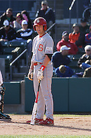 Chris Diaz of the North Carolina State Wolfpack hitting during  a game against  the Coastal Carolina University Chanticleers at the Baseball at the Beach Tournament held at BB&T Coastal Field in Myrtle Beach, SC on February 28, 2010.