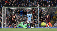 1899 Hoffenheim's Andrej Kramaric scores the opening goal from the penalty spot past Manchester City's Ederson<br /> <br /> Photographer Rich Linley/CameraSport<br /> <br /> UEFA Champions League Group F - Manchester City v TSG 1899 Hoffenheim - Wednesday 12th December 2018 - The Etihad - Manchester<br />  <br /> World Copyright © 2018 CameraSport. All rights reserved. 43 Linden Ave. Countesthorpe. Leicester. England. LE8 5PG - Tel: +44 (0) 116 277 4147 - admin@camerasport.com - www.camerasport.com