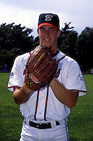 Pitcher Mark Mulder of the Bourne Braves poses for a photo prior to a game versus the Wareham Gatemen in Bourne, Massachusetts during the summer of 1997. (Ken Babbitt/Four Seam Images)