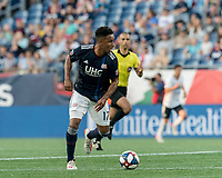 FOXBOROUGH, MA - JUNE 26: Juan Agudelo #17 on the attack during a game between Philadelphia Union and New England Revolution at Gillette Stadium on June 26, 2019 in Foxborough, Massachusetts.