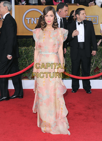 Rose Byrne (wearing Valentino).Arrivals at the 19th Annual Screen Actors Guild Awards at the Shrine Auditorium in Los Angeles, California, USA..27th January 2013.SAG SAGs full length dress pink beige ruffle clutch bag.CAP/DVS.©DVS/Capital Pictures.