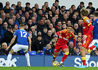 23rd  November 2019; Goodison Park , Liverpool, Merseyside, England; English Premier League Football, Everton versus Norwich City; Max Aarons of Norwich City takes on Lucas Digne of Everton - Strictly Editorial Use Only. No use with unauthorized audio, video, data, fixture lists, club/league logos or 'live' services. Online in-match use limited to 120 images, no video emulation. No use in betting, games or single club/league/player publications