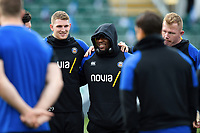 Ruaridh McConnochie and Beno Obano of Bath Rugby look on in a huddle prior to the match. Gallagher Premiership match, between Bath Rugby and Harlequins on March 2, 2019 at the Recreation Ground in Bath, England. Photo by: Patrick Khachfe / Onside Images