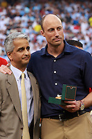 United States US Soccer Federation president Sunil Gulati presents Kasey Keller with a watch in honor of of his 100th national team match. The men's national teams of the United States and Argentina played to a 0-0 tie during an international friendly at Giants Stadium in East Rutherford, NJ, on June 8, 2008.