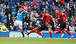 05.05.2018 Rangers v Kilmarnock: Aaron Tshibola shoots past Russell Martin