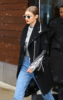 www.acepixs.com<br /> <br /> January 31 2017, New York City<br /> <br /> Model Gigi Hadid wears high-waisted jeans as she braves the snow on January 31 2017 in New York City<br /> <br /> By Line: Zelig Shaul/ACE Pictures<br /> <br /> <br /> ACE Pictures Inc<br /> Tel: 6467670430<br /> Email: info@acepixs.com<br /> www.acepixs.com