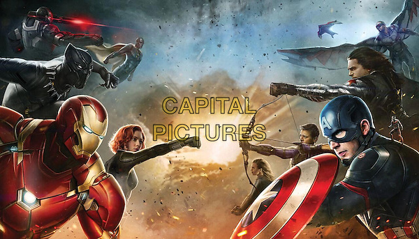 Captain America: Civil War (2016) <br /> Robert Downey Jr., Scarlett Johansson, Jeremy Renner, Chris Evans<br /> *Filmstill - Editorial Use Only*<br /> CAP/KFS<br /> Image supplied by Capital Pictures