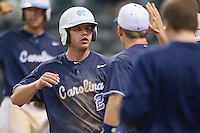North Carolina Tar Heels outfielder Chaz Frank #2 celebrates after scoring the winning run in the eighth inning of the NCAA baseball game against the Rice Owls on March 1st, 2013 at Minute Maid Park in Houston, Texas. North Carolina defeated Rice 2-1. (Andrew Woolley/Four Seam Images).