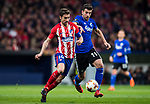 Andrija Pavlovic (R) of FC Copenhague fights for the ball with Gabriel Fernandez Arenas, Gabi, of Atletico de Madrid during the UEFA Europa League 2017-18 Round of 32 (2nd leg) match between Atletico de Madrid and FC Copenhague at Wanda Metropolitano  on February 22 2018 in Madrid, Spain. Photo by Diego Souto / Power Sport Images