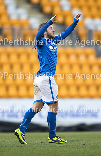 St Johnstone v Livingston.....30.11.13     Scottish Cup 4th Round<br /> Stevie May celebrates his goal<br /> Picture by Graeme Hart.<br /> Copyright Perthshire Picture Agency<br /> Tel: 01738 623350  Mobile: 07990 594431